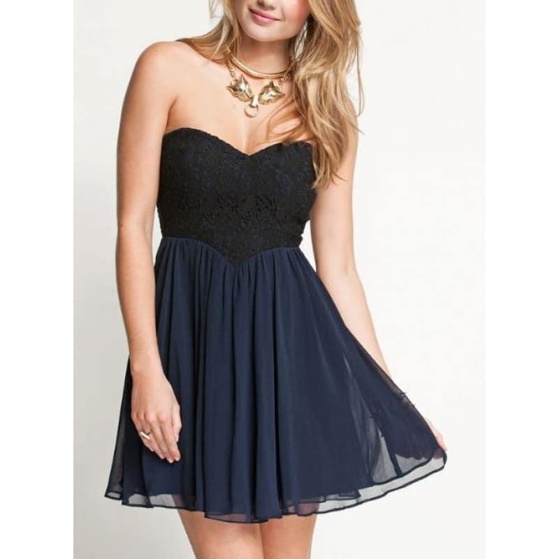 Официална рокля от дантела и шифон