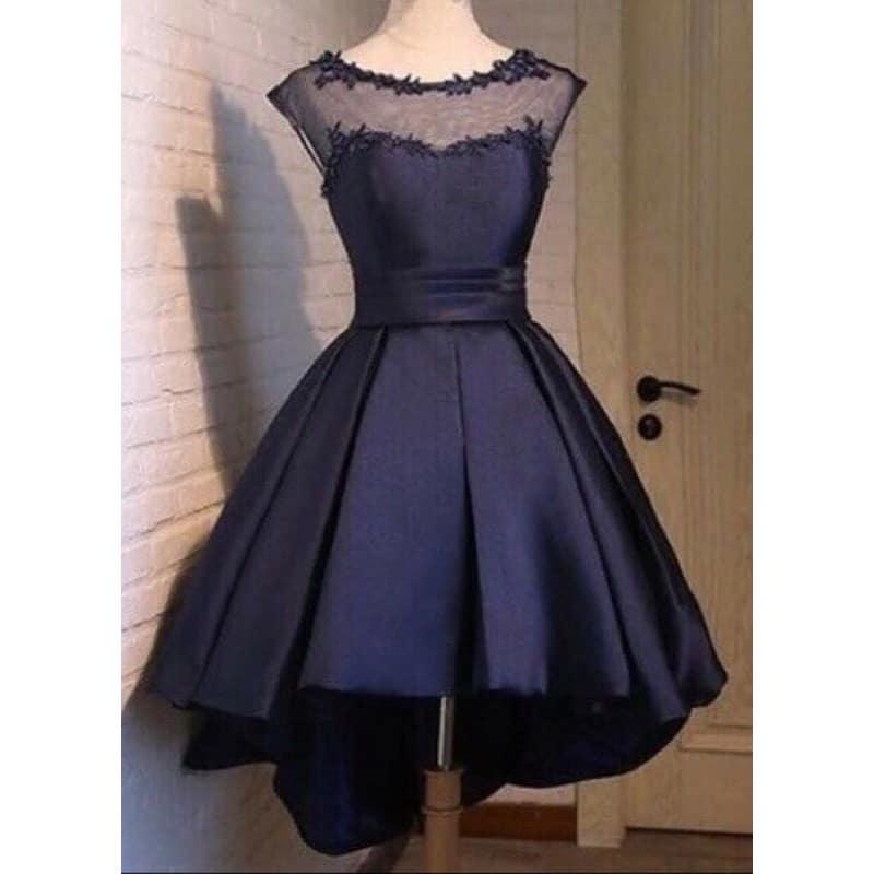 Официална синя рокля от сатен - EvizaBG
