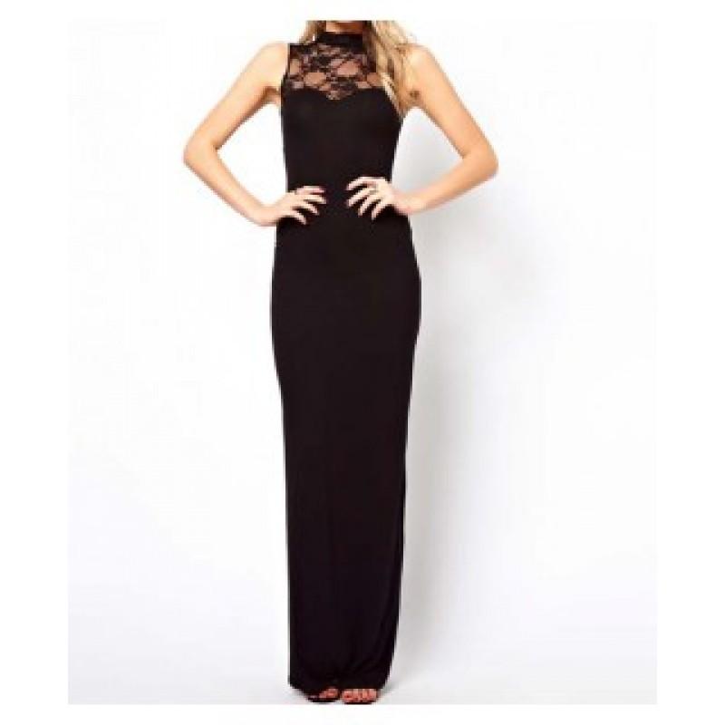 Дълга официална черна рокля